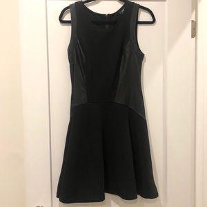 Mission Black Fit + Flare Dress w/ Faux Leather M